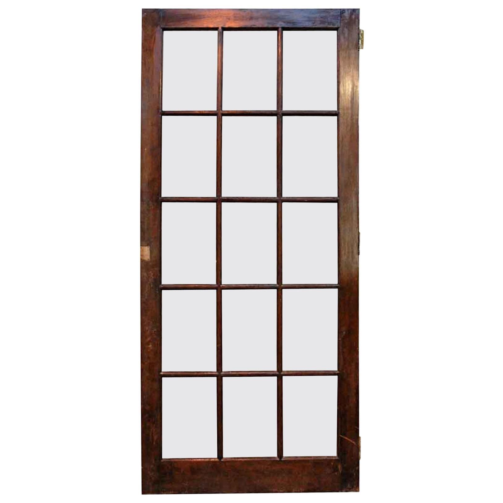 1940s Antique 15-Lite Dark Stain Birch French Door