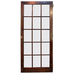 1940s Antique 15-Lite Dark Stain Birch French Door