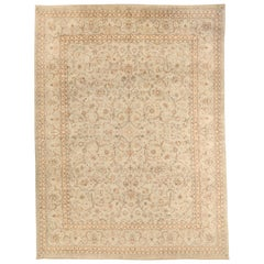 1940s Antique Persian Kerman Rug with Ivory and Brown Flower Details over Beige
