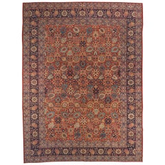 1940s Antique Persian Tabriz Rug with Jewel-Like 'Herati' Floral Patterns