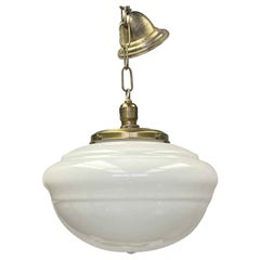 1940s Antique Schoolhouse Pendant Light with Original Brass Fitter and Hardware