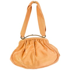 1940s Apricot Twill Hand Bag with Brass Hardware