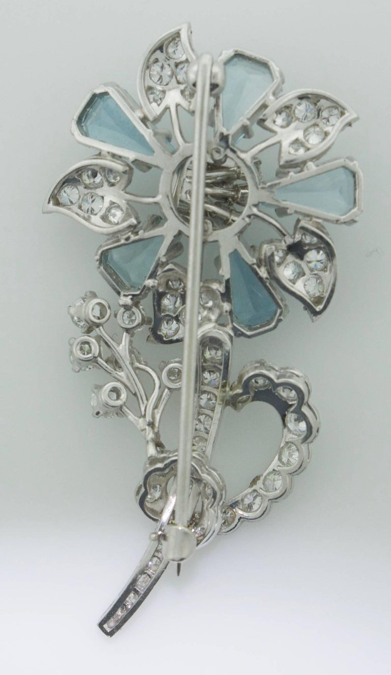 Women's or Men's 1940s Aquamarine and Diamond Flower Brooch in Platinum For Sale