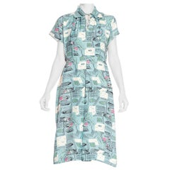 1940'S Aqua Blue Rayon Arabian Nights Novelty Print Dress