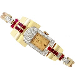 1940s Art Deco 1.12 Carat Ruby and 1.01 Carat Diamond Yellow Gold Watch