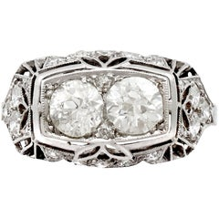 1940s Art Deco 1.73 Carat Diamond and Platinum Cocktail Ring