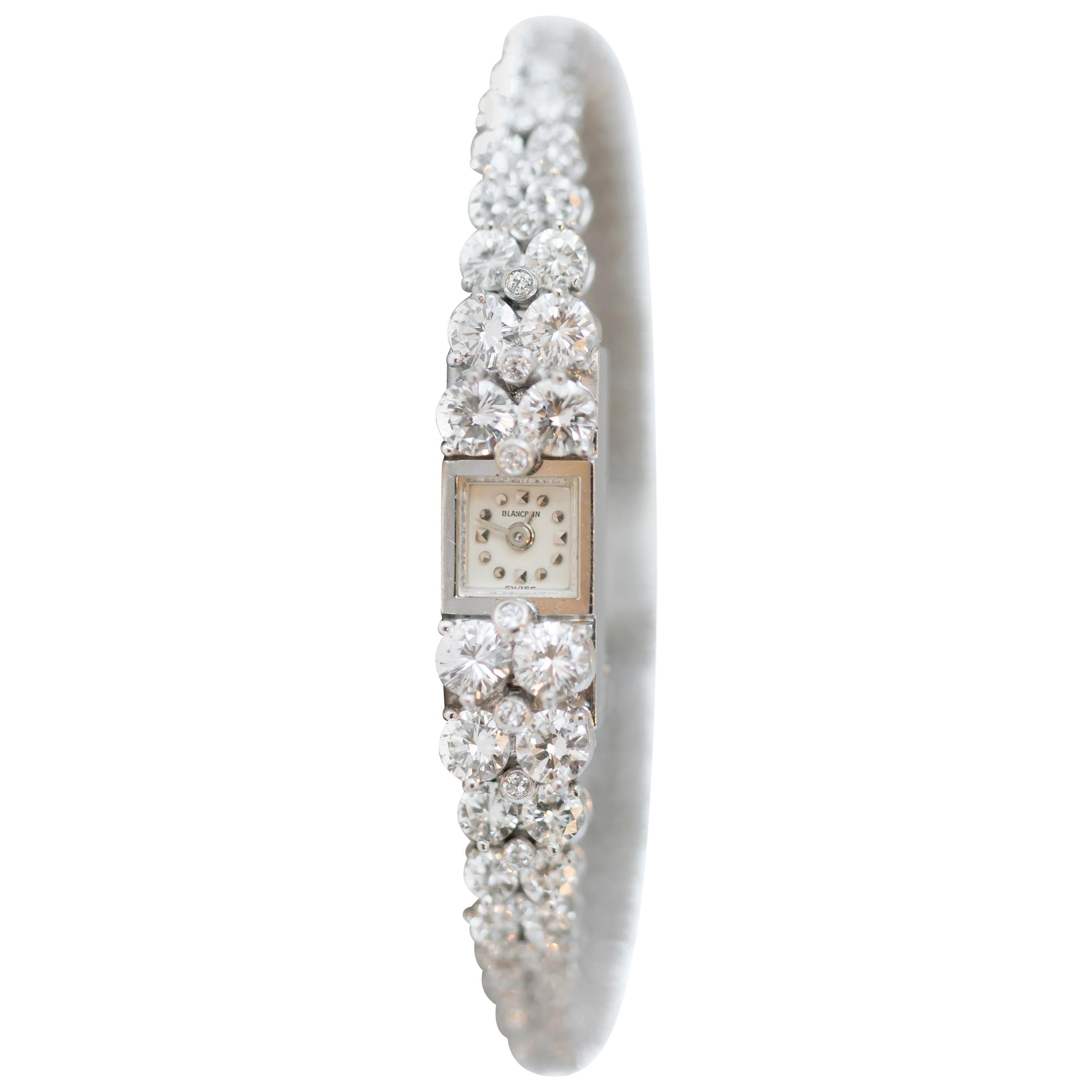 1940s Art Deco Blancpain 8 Carat Total Diamond and Platinum Ladies Wrist Watch