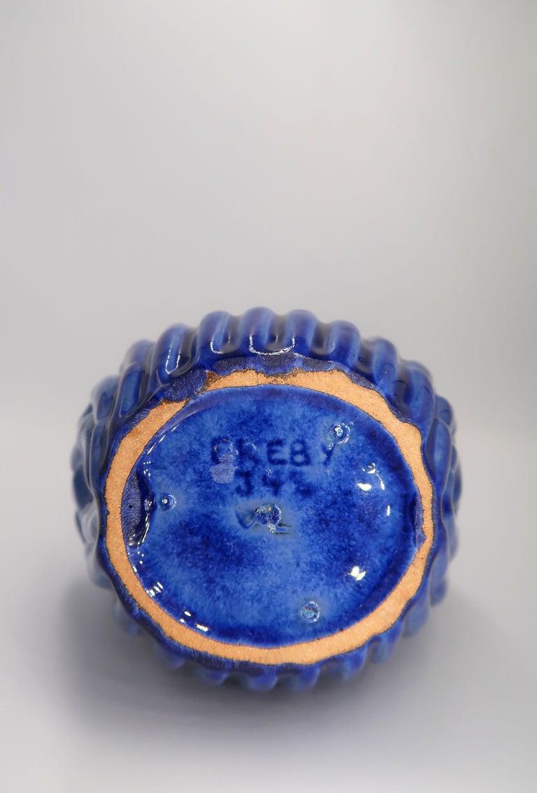 1940s Art Deco Cobalt Blue Shell Shaped Vase by Vicke Lindstrand, Upsala Ekeby For Sale 5
