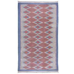 1940s Art Deco Cotton Shurrie Rug, Gray, Coral & Orange Field, Blue Borders