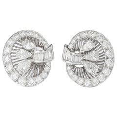 1940S Art Deco Diamond and Platinum Ear Clips Earrings