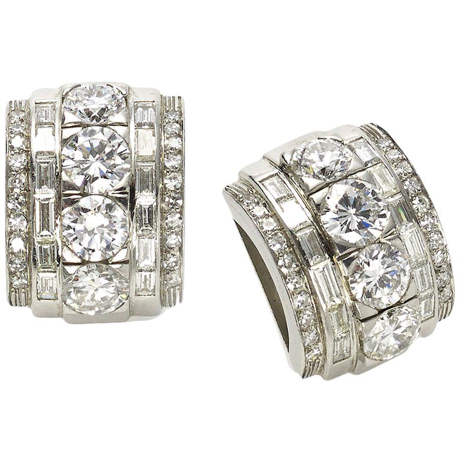 1940s Art Deco Diamond Gold Platinum Clip Earrings
