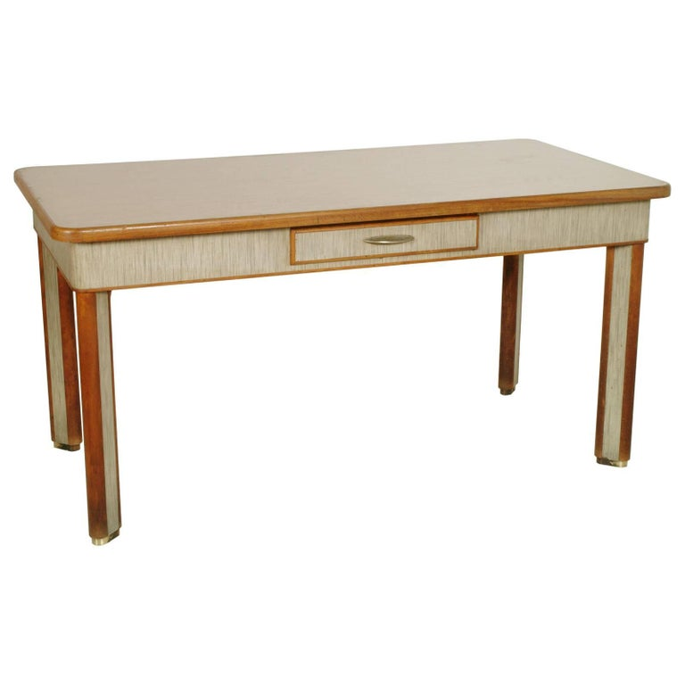 1940s Art Deco Dining Table with Drawer, Solid Beech, Top in Formica, Brass Feet