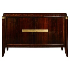 1940s Art Deco Directoire Style Bookmatched Walnut Sideboard w/ Bronzed Fittings