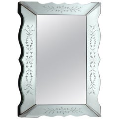 1940's Art Deco Etched and Scalloped Mirror