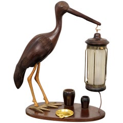 1940s Art Deco Heron Table Lamp Ashtray Cigarette Service Italy Hand Carved Wood