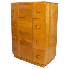 1940s Art Deco Heywood Wakefield RIO Highboy Dresser Blonde Maple by Leo Jiranek