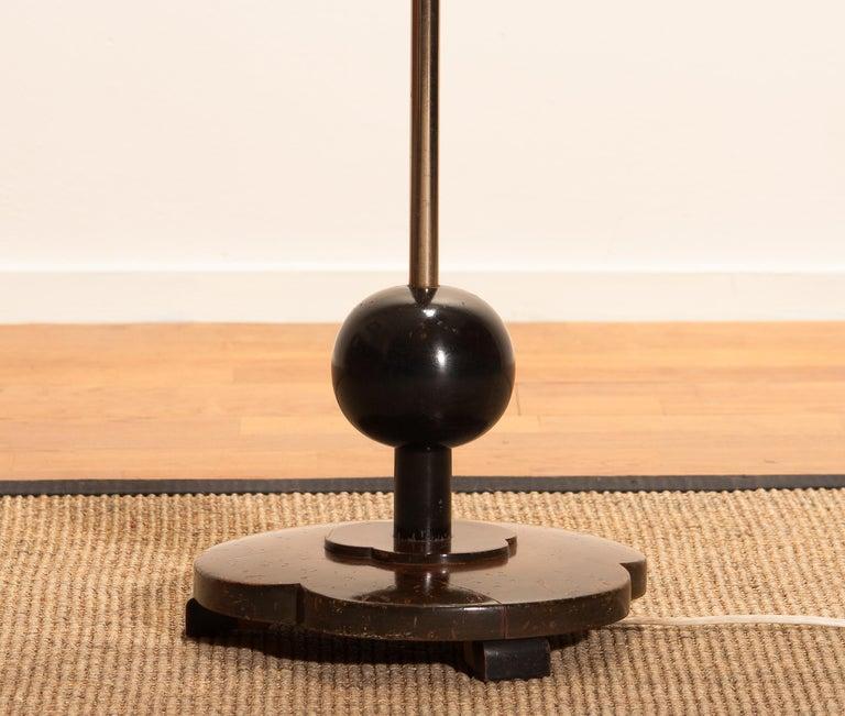 1940s Art Deco Jugendstil Chromed Floor Lamp With Wicker