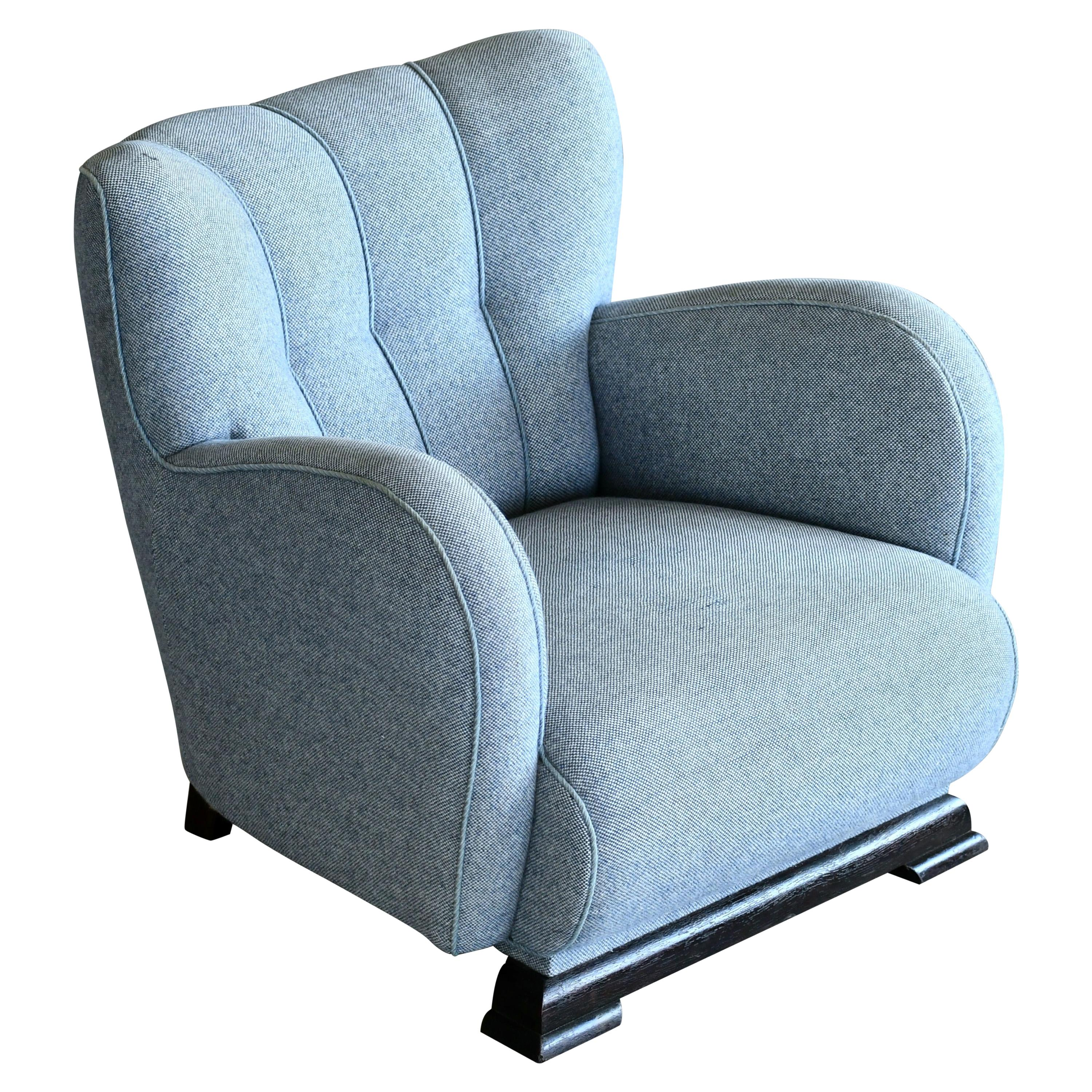 1940s Art Deco Large-Sized Danish Club Chair in Style of Fritz Hansen
