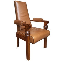 1940s Art Deco Leather and Oak Armchair by Charles Dudouyt