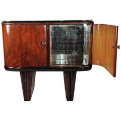 1940s Art Deco Midcentury Italian Walnut Burl and Mirror Mosaic Dry Bar Cabinet