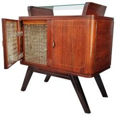 1940s Art Deco Midcentury Italian Walnut Burl, Brass and Mirrors Dry Bar Cabinet
