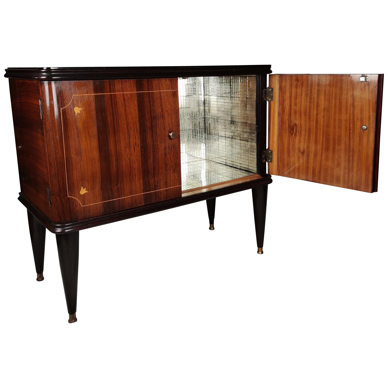 1940s Art Deco Midcentury Italian Walnut Inlay and Mirror Mosaic Dry Bar Cabinet