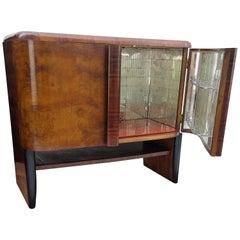 1940s Art Deco Midcentury Regency Italian Walnut Burl and Mirror Dry Bar Cabinet