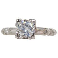 1940s Art Deco Platinum Euro Cut Diamond Engagement Ring