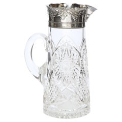 1940s Art Deco Pressed Glass Pitcher with Geometric Details & Silver Plated Top