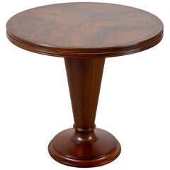 1940's Art Deco Round Center Table with Book Matched Flame Top