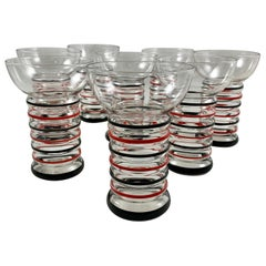 1940s Art Deco Style Dunbar Aramis Black & Red Striped Highball Glasses Set of 8