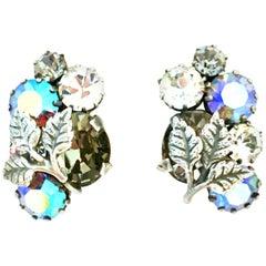 1940'S Art Nouveau Austrian Silver & Crystal Rhinestone Earrings-Signed Autsria