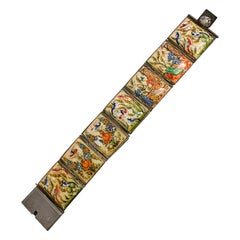 1940s Asian Hand-painted Bone Tiled Bracelet