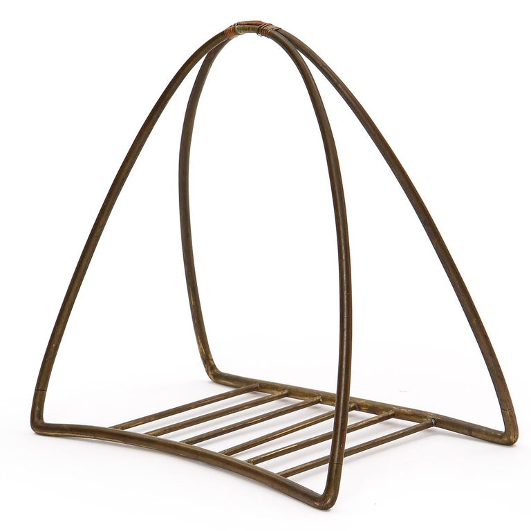 Mid-Century Modern 1940s Austrian Fireplace Accessory Log Holder by Karl Hagenauer For Sale