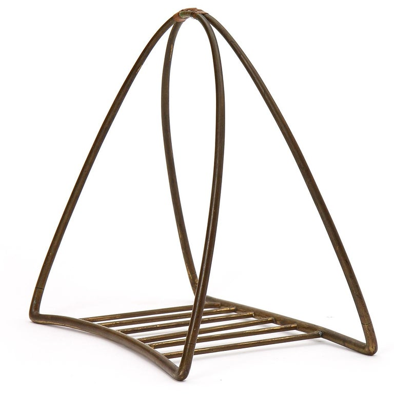 1940s Austrian Fireplace Accessory Log Holder by Karl Hagenauer In Good Condition For Sale In Sagaponack, NY