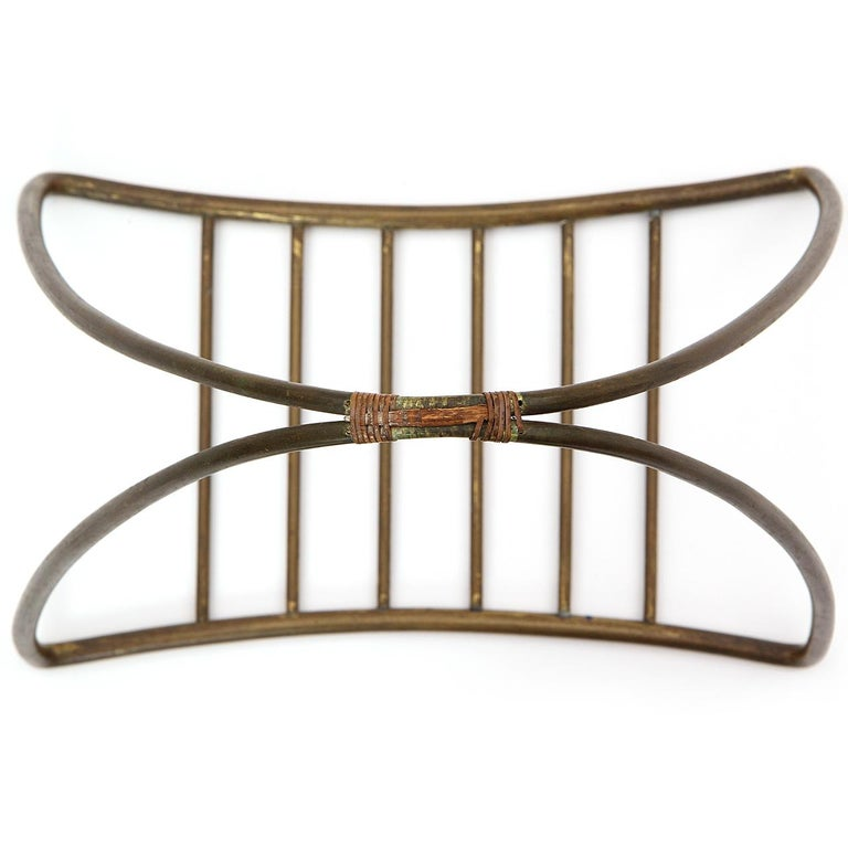 Brass 1940s Austrian Fireplace Accessory Log Holder by Karl Hagenauer For Sale