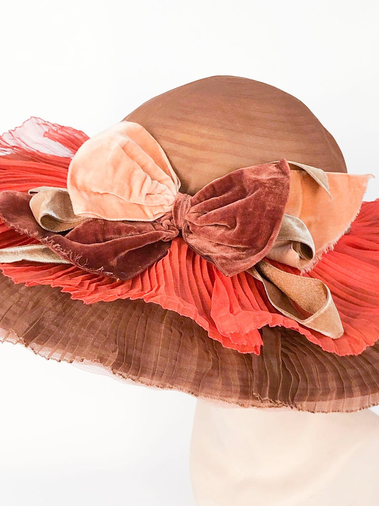 1940s Autumn-toned Horsehair Wide-Brimmed Hat In Good Condition For Sale In San Francisco, CA