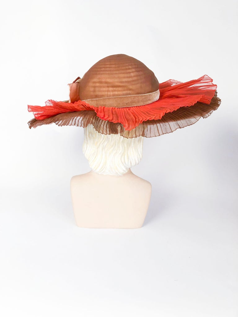 1940s Autumn-toned Horsehair Wide-Brimmed Hat For Sale 1