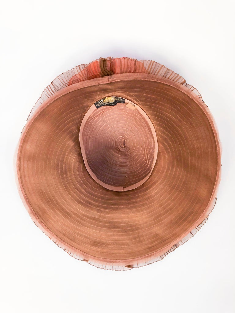 1940s Autumn-toned Horsehair Wide-Brimmed Hat For Sale 3