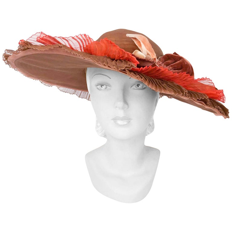 1940s Autumn-toned Horsehair Wide-Brimmed Hat For Sale