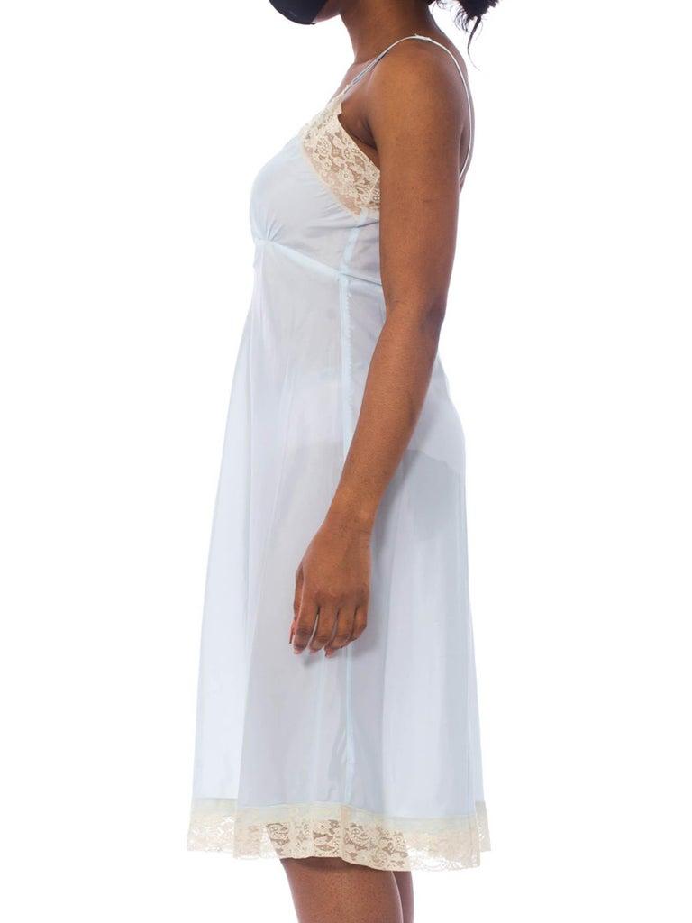 Vintage VAL MODE *Size MB34* Baby Blue Nylon Lace Shirred Dress Slip