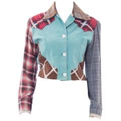 1940S Baby Blue Patchwork Cotton Plaid WWII Utility Workwear Shirt Jacket