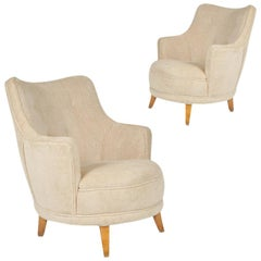 1940s Barrel Back Moderne Lounge Chairs after Gilbert Rohde, Pair