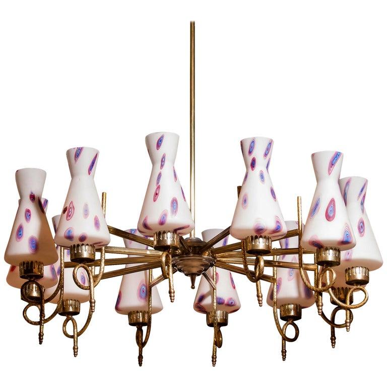Italian 1940s Beautiful Large Brass and Multicolored Murano Glass by Stilnovo