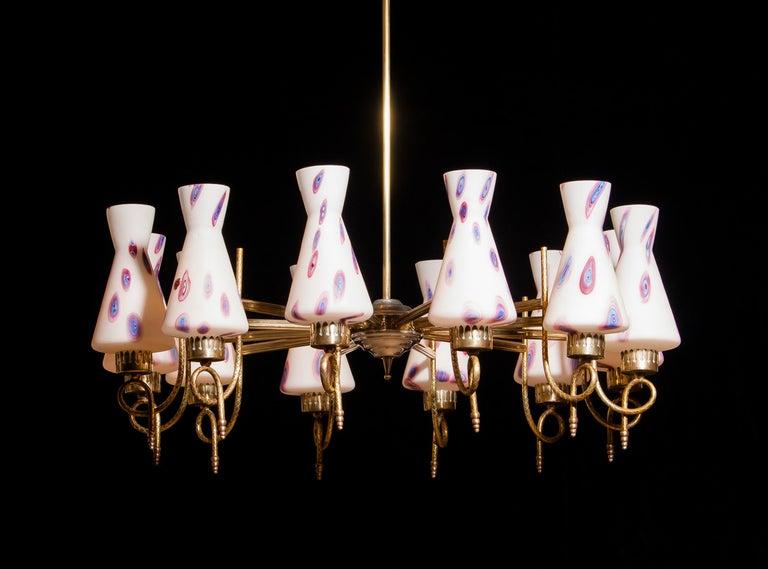 Italian 1940s Beautiful Large Brass and Multicolored Murano Venini Glass Chandelier