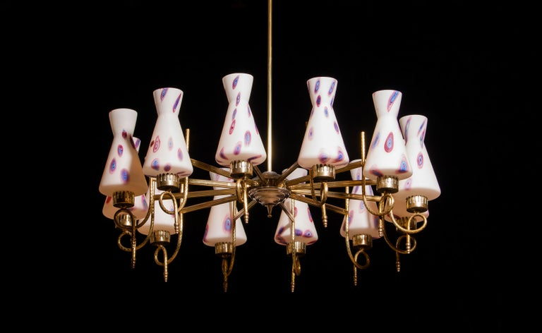 Polished 1940s Beautiful Large Brass and Multicolored Murano Venini Glass Chandelier
