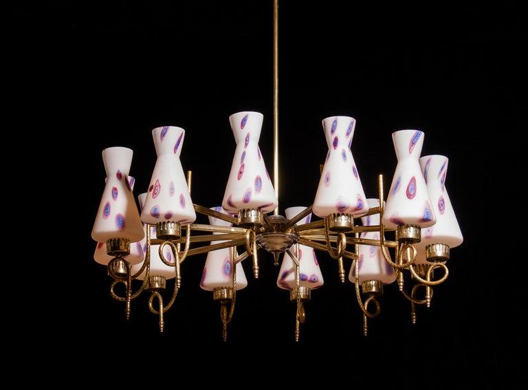 1940s Beautiful Large Brass and Multicolored Murano Venini Glass Chandelier 1