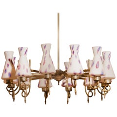 1940s Beautiful Large Brass and Multicolored Murano Venini Glass Chandelier