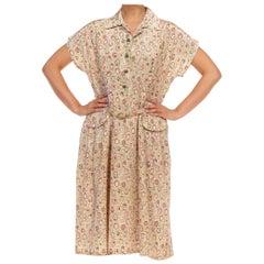 1940S Beige Silk Conversational Print Dress