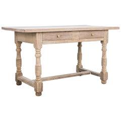 1940s Belgian Two-Drawer Bleached Oak Table